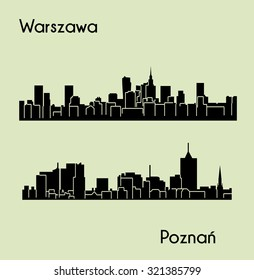 Warsaw, Poznan 2 city silhouette in Poland