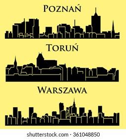 Warsaw, Poznan, Torun 3 city silhouette in Poland