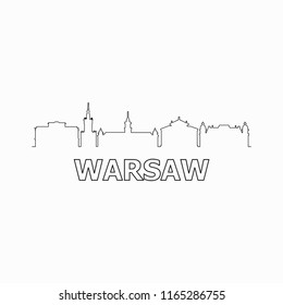 Warsaw skyline and landmarks silhouette black vector icon. Warsaw panorama. Poland