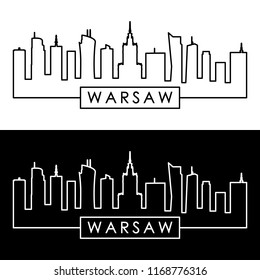 Warsaw skyline. Linear style. Editable vector file.
