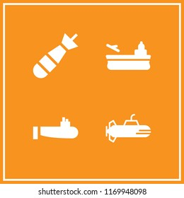 warship icon. 4 warship vector set. aircraft carrier, submarine and torpedo icons for web and design about warship theme