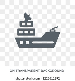 Warship icon. Warship design concept from Army collection. Simple element vector illustration on transparent background.