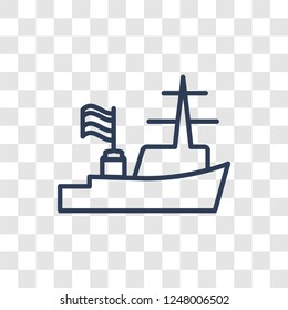 Warship icon. Trendy linear Warship logo concept on transparent background from army and war collection