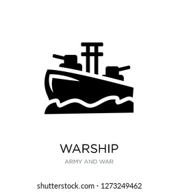 warship icon vector on white background, warship trendy filled icons from Army and war collection, warship simple element illustration