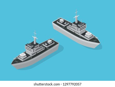 Warship military boat naval Battleship Navy with guns. Isometric ship army vector illustration stock image.