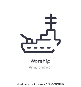 warship outline icon. isolated line vector illustration from army and war collection. editable thin stroke warship icon on white background