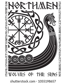 Warship of the Vikings. Drakkar, ancient scandinavian pattern and norse runes, isolated on white, vector illustration