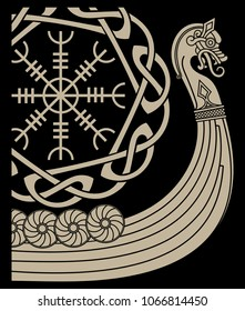 Warship of the Vikings. Drakkar, ancient scandinavian pattern and norse runes, isolated on black, vector illustration