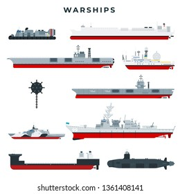 Warships of different types, set. Military boats. Cruiser, destroyer, aircraft carrier, frigate, corvette, mine warfare, patrol craft, amphibious assault ship, submarine. Vector illustration.