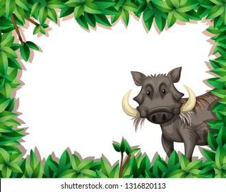 A warthog on nature frame illustration