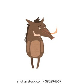 Warthog Standing On Two Legs Flat Cartoon Stylized Vector Illustration