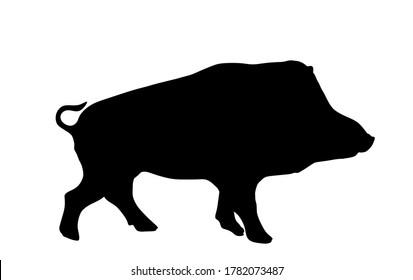 Warthog vector silhouette illustration isolated on white background. Bush Pig. Wild boar symbol. Boar isolated, warthog icon. Wild animals nature wildlife. Pumba hog.