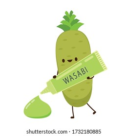 Wasabi root character. Wasabi root on white background. Wasabi tube.