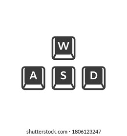 WASD keyboard gaming buttons vector icon