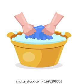 wash clothes in hand wash basins. flat vector illustration.