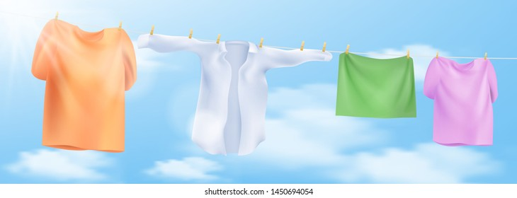 Wash clothes on a rope with clothespins. Vector illustration