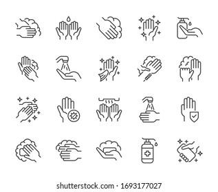 Wash hand line icons set vector illustration. editable stroke - Shutterstock ID 1693177027