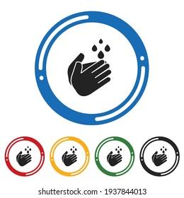 Wash Hands icon set. flat design vector illustration in 5 colors options for webdesign