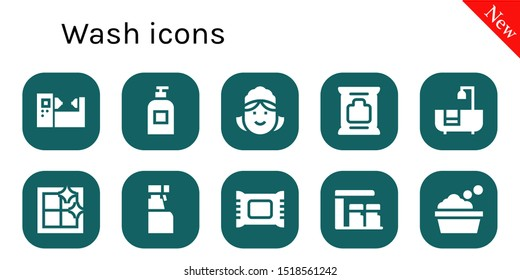 wash icon set. 10 filled wash icons.  Collection Of - Machine, Soap, Maid, Wipes, Bathtub, Clean window, Cleaning spray, Makeup remover, Gas station icons