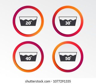 Wash icons. Machine washable at 20, 30, 40 and 50 degrees symbols. Laundry washhouse signs. Infographic design buttons. Circle templates. Vector