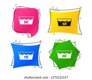 Wash icons. Machine washable at 50, 60, 70 and 80 degrees symbols. Laundry washhouse signs. Geometric colorful tags. Banners with flat icons. Trendy design. Vector