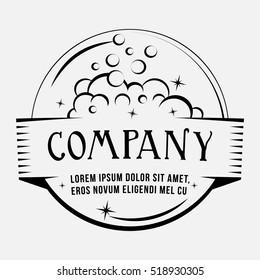 Wash logo. Vector and illustration. T-shirt design. Soap bubles design.