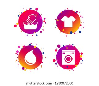 Wash machine icon. Hand wash. T-shirt clothes symbol. Laundry washhouse and water drop signs. Not machine washable. Gradient circle buttons with icons. Random dots design. Vector