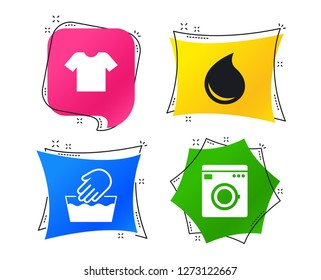 Wash machine icon. Hand wash. T-shirt clothes symbol. Laundry washhouse and water drop signs. Not machine washable. Geometric colorful tags. Banners with flat icons. Trendy design. Vector