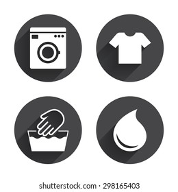 Wash machine icon. Hand wash. T-shirt clothes symbol. Laundry washhouse and water drop signs. Not machine washable. Circles buttons with long flat shadow. Vector