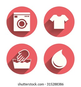 Wash machine icon. Hand wash. T-shirt clothes symbol. Laundry washhouse and water drop signs. Not machine washable. Pink circles flat buttons with shadow. Vector