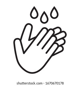 Wash / washing hands to keep clean line art vector icon for websites and print