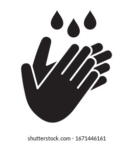 Wash / washing hands to keep clean flat vector icon for websites and print
