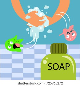 Wash your hand for children campaign poster design. Kid hygiene campaign.