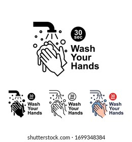 Wash your hands for 30 seconds with soap under running water. Hand washing with soap and watering, wash your hands icon. Vector illustration. Design on white background. EPS 10