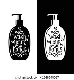 Wash your hands bathroom poster. Hand made lettering composition. Vector vintage illustration.
