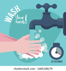 wash your hands campaign poster with water tap vector illustration design