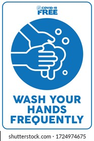 Wash your hands frequently. Covid-19 free zone poster. Signs for shops, stores, hairdressers, establishments, bars, restaurants ...