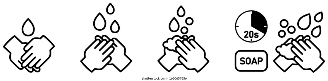 Wash your hands icons set, simple black and white hand drawing with drop, soap bubble and 20s timer sign - can be used during coronavirus covid19 virus outbreak prevention