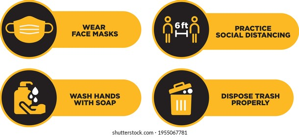 wash your hands keep safe distance and wear a mask signage