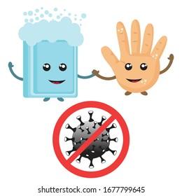 Wasch dir die Hände. Beenden Sie das Coronavirus-Symbol mit dem Red Prohibit Sign. 2019-nCoV Novel Coronavirus Bacteria. Keine Infektion und Stopp von Coronavirus Konzepten.Vorsicht ist geboten. Vektorillustration-Symbol.