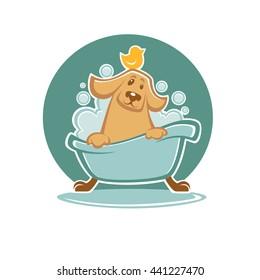 wash your pet, funny cartoon dog taking a bath in bathtub