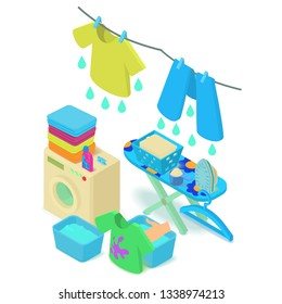 Washable concept banner. Isometric banner of washable vector concept for web, giftcard and postcard