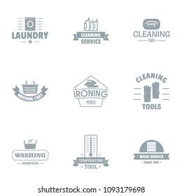 Washable logo set. Simple set of 9 washable vector logo for web isolated on white background