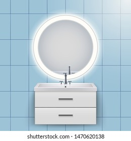 Washbasin cabinet with circle mirror and backlight. Domestic bathroom Interior. White porcelain sink and wooden stand cabinet. Front view and wall mount. Vector Illustration