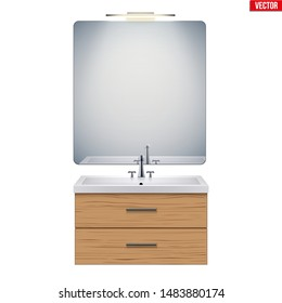 Washbasin cabinet with mirror and light. Model for bathroom Interior. White porcelain sink and wooden stand cabinet. Front view and wall mount. Vector Illustration isolated on white background
