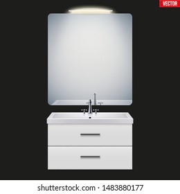 Washbasin cabinet with mirror and light. Model for bathroom Interior. White porcelain sink and wooden stand cabinet. Front view and wall mount. Vector Illustration isolated on background
