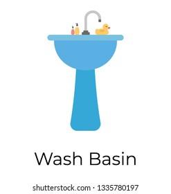 Washbasin flat vector icon