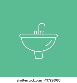 Washbasin Line Icon On Green Background