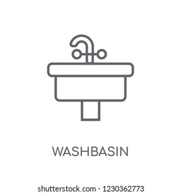 Washbasin linear icon. Modern outline Washbasin logo concept on white background from Hygiene collection. Suitable for use on web apps, mobile apps and print media.