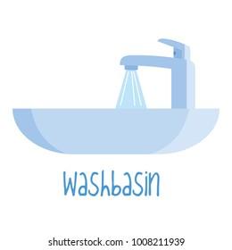 Washbasin on white background